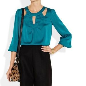 Milly Lena Teal Cutout Silk Blend  Blouse